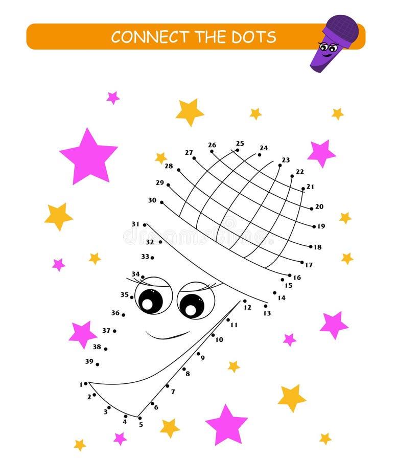 Verbind de punten en de kleur Leuke microfoon Beeldverhaal vectorillustratie van onderwijsspel royalty-vrije illustratie