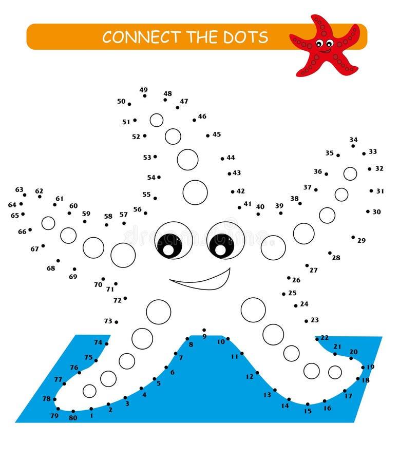 Verbind de punten en de kleur Leuke zeester Beeldverhaal vectorillustratie van onderwijsspel stock illustratie