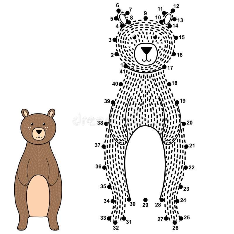 Verbind de punten en trek een leuke beer Aantallenspel voor kinderen royalty-vrije illustratie