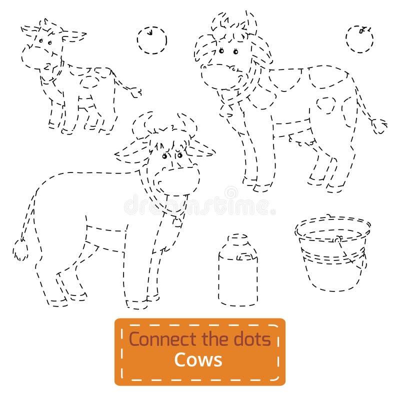 Verbind de punten (geplaatste landbouwbedrijfdieren, koefamilie) vector illustratie