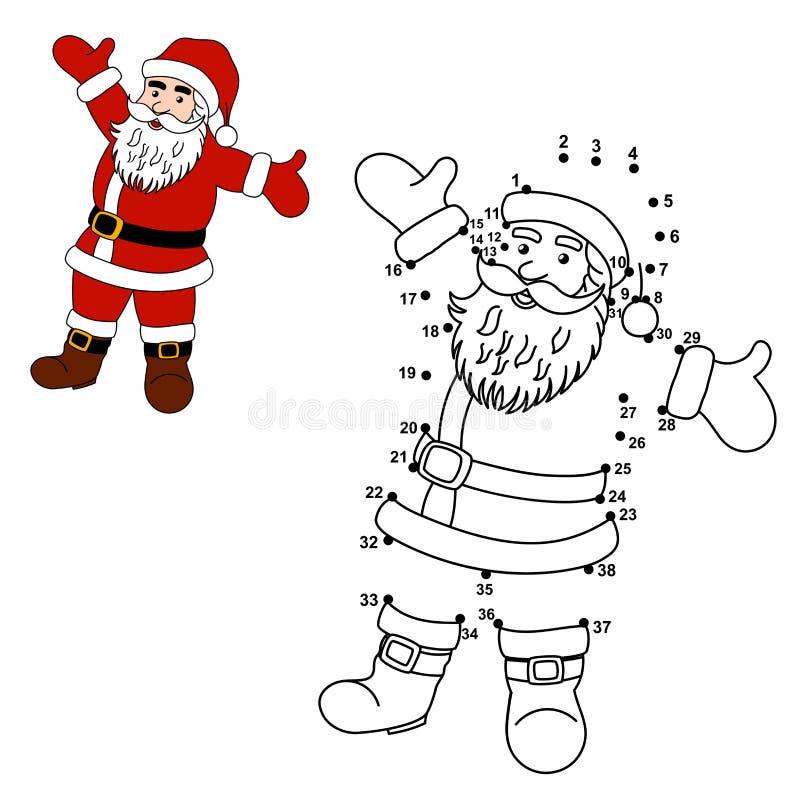 Verbind de punten om Santa Claus te trekken en hem te kleuren vector illustratie