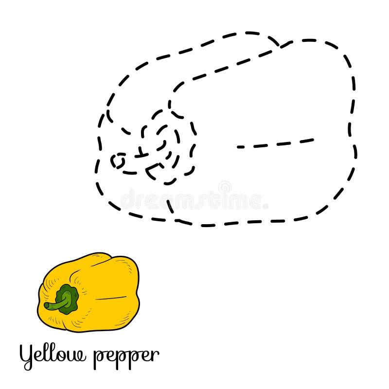 Verbind de punten: vruchten en groenten (gele peper) vector illustratie