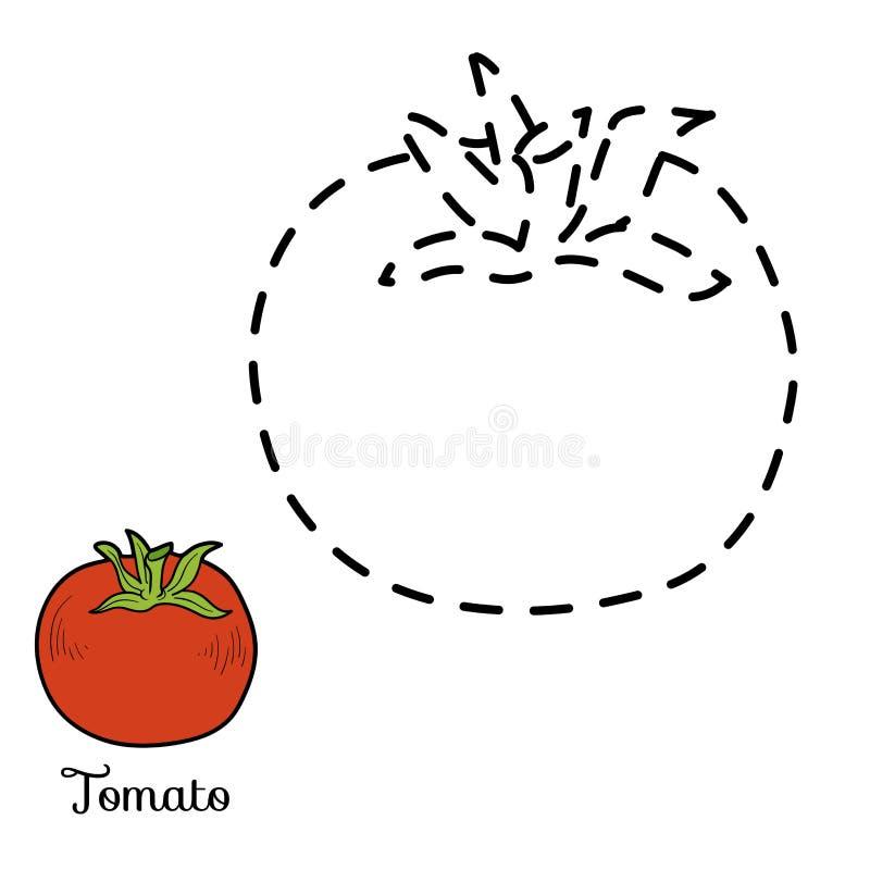Verbind de punten: vruchten en groenten (tomaat) stock illustratie
