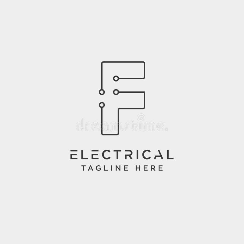verbind of elektrof-vector ge?soleerd het pictogramelement van het embleemontwerp vector illustratie