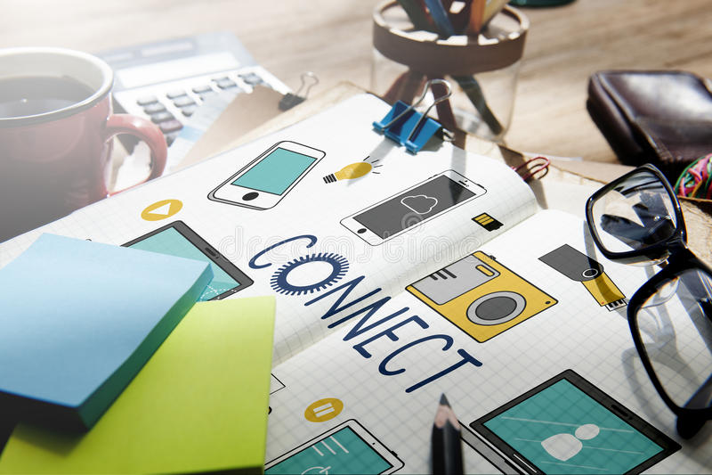 Verbind het Concept van de Technologiecommunicztion van Verbindingsapparaten stock afbeeldingen