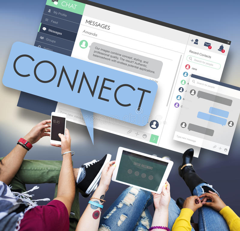 Verbind het Netwerk van de Verbindingstoegang aansluiten zich Verbindings bij Concept stock foto