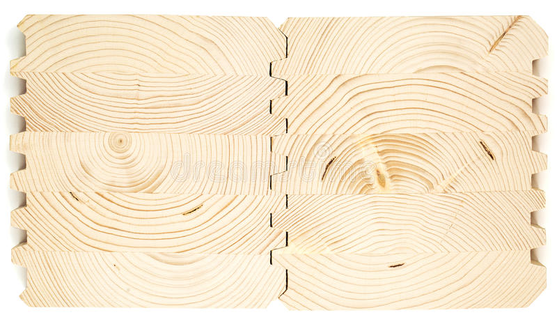 Verbind houten gelamineerd vernisjetimmerhout stock foto