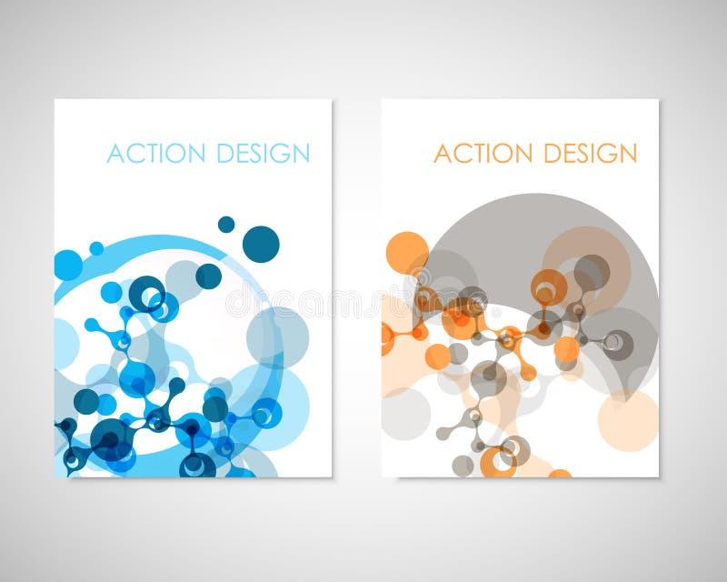 Verbind vectormalplaatjes voor brochure, vlieger, dekkingstijdschrift of jaarverslag Moleculestructuur en mededeling stock illustratie