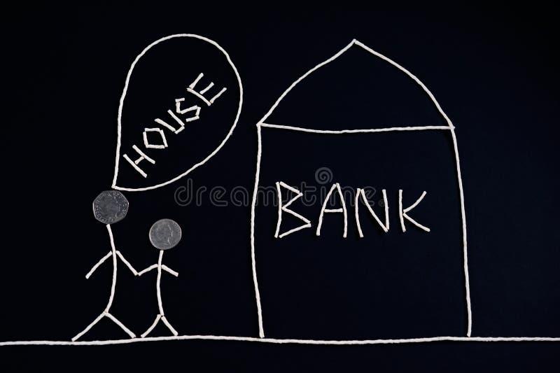 Verbinden Sie das Suchen nach Finanzhilfe, der Hypothek und gehen ein Bankkonto zu haben, das Geldkonzept, ungewöhnlich lizenzfreies stockbild