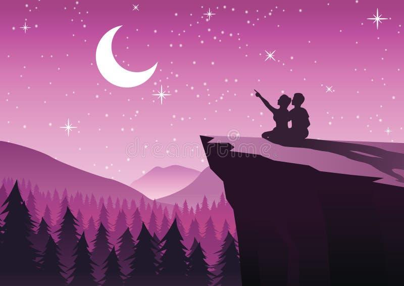 Verbinden Sie das Zeigen auf den Mond in einer Nacht mit den Sternen, die auf CLI sitzen lizenzfreie abbildung