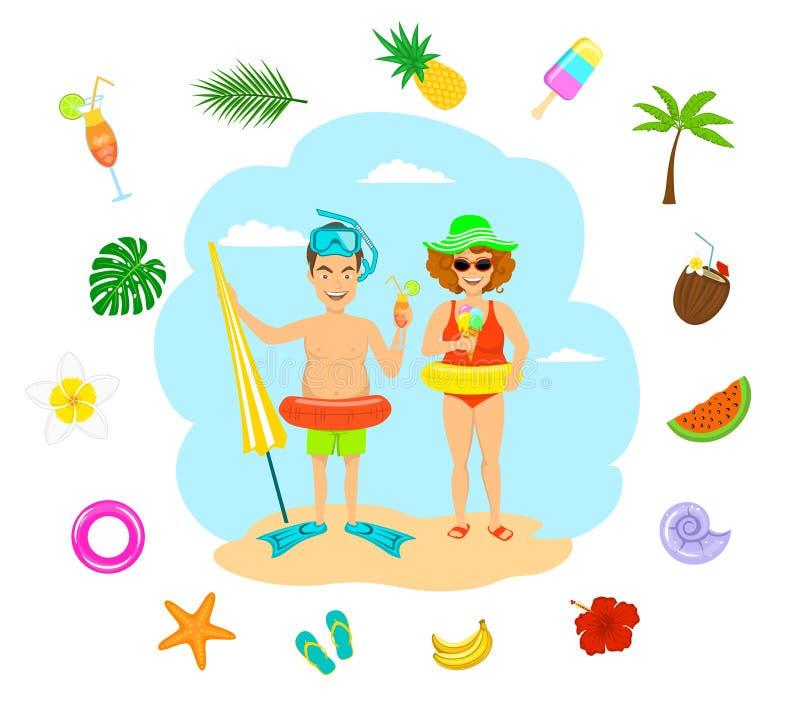 verbinden Sie den Mann und Frau in den Badeanzügen Cocktails der Eiscreme im Urlaub essend trinkende stock abbildung