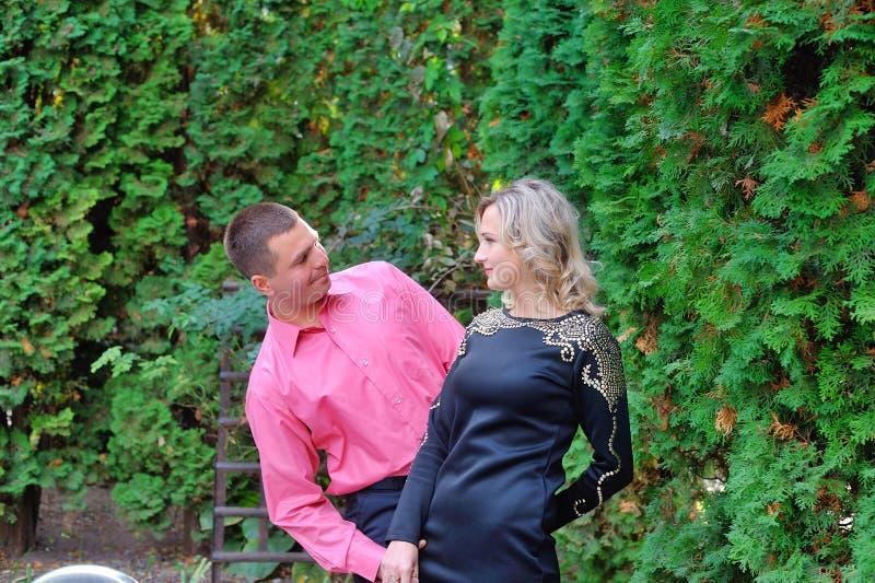 Verbinden Sie den Mann und Frau, die in den Sommerpark gehen stockfotos