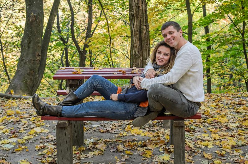 Verbinden Sie in der Liebe, die auf einer Bank im Herbstpark unter den gelben gefallenen Blättern sitzt stockbild