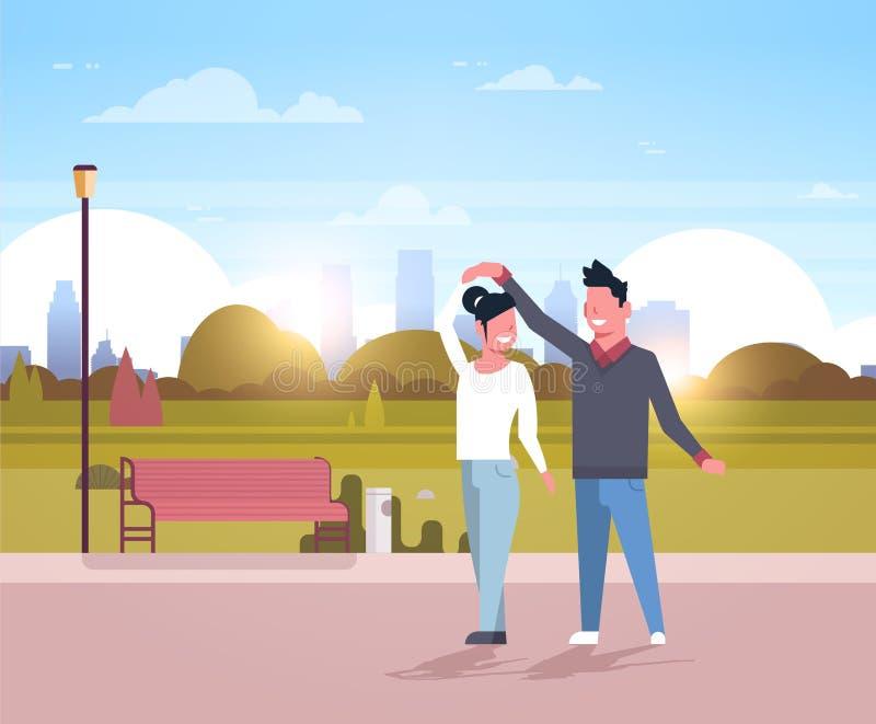 Verbinden Sie die nette Mannfrau zusammen tanzen, welche Parkstadtbild-Hintergrundes der Spaßstadt die glücklichen männlich-weibl lizenzfreie abbildung