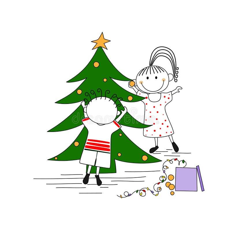 Verbinden Sie die Verzierung eines Weihnachtsbaums lizenzfreie abbildung