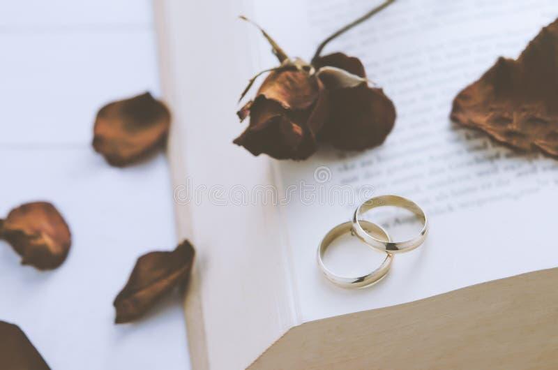 Verbinden Sie Eheringe mit trockenen Rosen an geöffnetem Buch lizenzfreie stockfotos