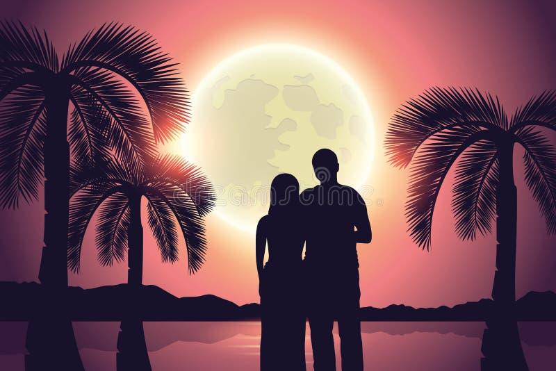 Verbinden Sie ein Paradies Palm Beach am Vollmond lizenzfreie abbildung