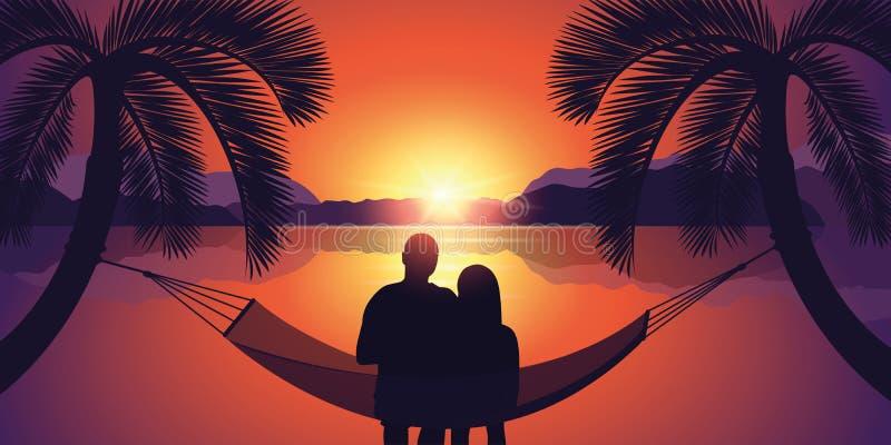 Verbinden Sie in einer Hängematte genießt den Sonnenuntergang auf dem Strand stock abbildung