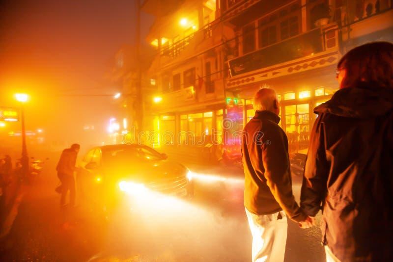 Verbinden Sie europ?isches H?ndchenhalten zusammen auf dem Nachtstra?enmarkt an Sa-PA, Vietnam lizenzfreies stockbild