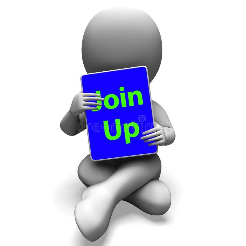 Verbinden Sie herauf Tablet-Charakter-Show-Abonnement-Mitgliedschaft und Regis vektor abbildung