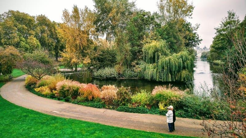Verbinden Sie Lesekarte in St. James Park außerhalb des Buckingham Palace stockbilder