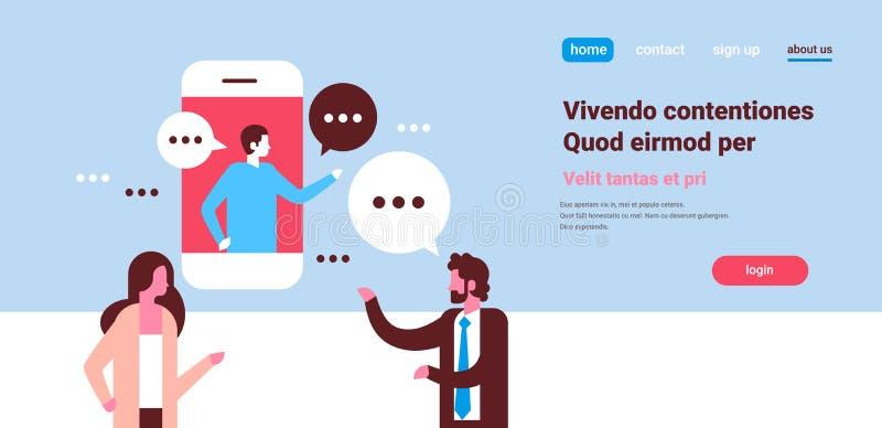 Verbinden Sie Sprachedialogmannfrauencharakterhintergrundporträt-Kopienraum der beweglichen Anwendung der Chatblasen in Verbindun stock abbildung