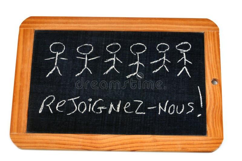 Verbinden Sie uns geschrieben auf Französisch auf einen Schulschiefer lizenzfreie abbildung