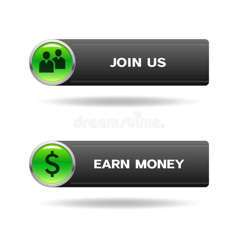 Verbinden Sie uns und erwerben Sie Geldknöpfe lizenzfreie abbildung