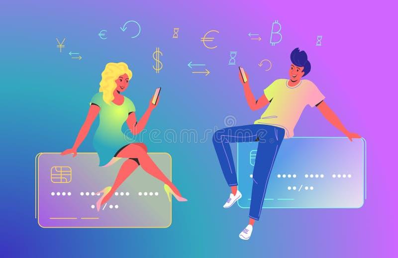 Verbinden Sie unter Verwendung eines neuen mobilen App für Online-Banking Konzeptvektorillustration von den Paaren, die auf große vektor abbildung