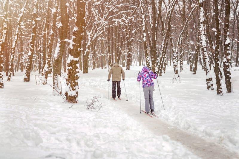 Verbinden Sie von den Leuten, die Skilanglauf im Stadtpark oder -wald im Winter genießen Tätigkeiten des Familien-Sports im Freie lizenzfreie stockfotos