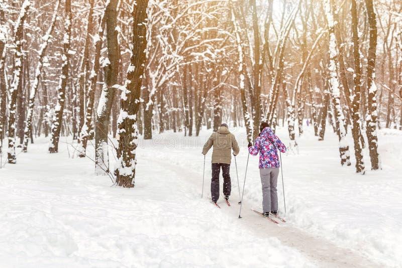 Verbinden Sie von den Leuten, die Skilanglauf im Stadtpark oder -wald im Winter genießen Tätigkeiten des Familien-Sports im Freie stockfoto
