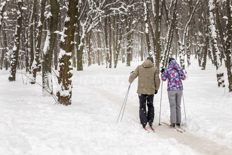 Verbinden Sie von den Leuten, die Skilanglauf im Stadtpark oder -wald im Winter genießen Tätigkeiten des Familien-Sports im Freie lizenzfreie stockbilder