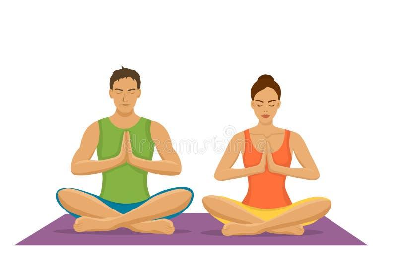 Verbinden Sie Yoga zusammen ausüben und in der Lotoshaltung meditieren lizenzfreie abbildung