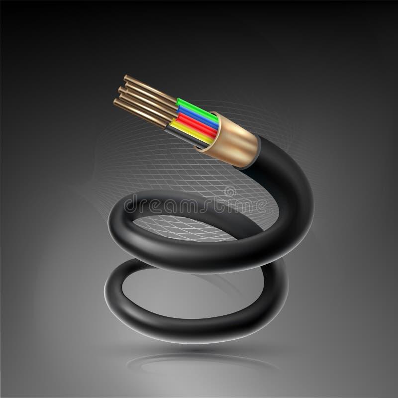 Verbindende concept van de vezel het optische kabel voor technologiemededeling stock illustratie