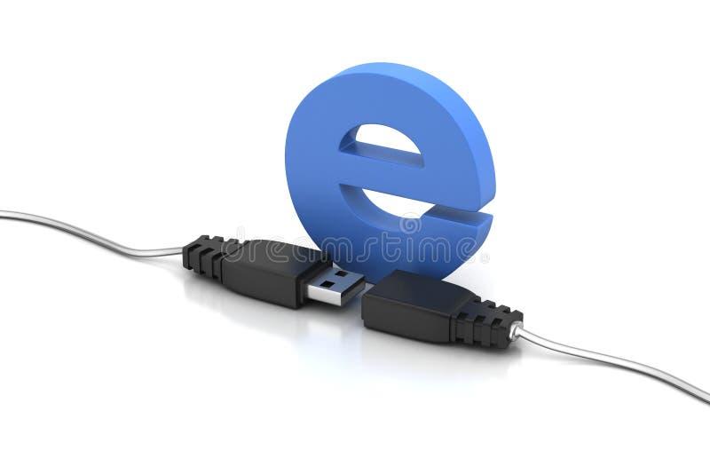 Verbindende kabel met e vector illustratie
