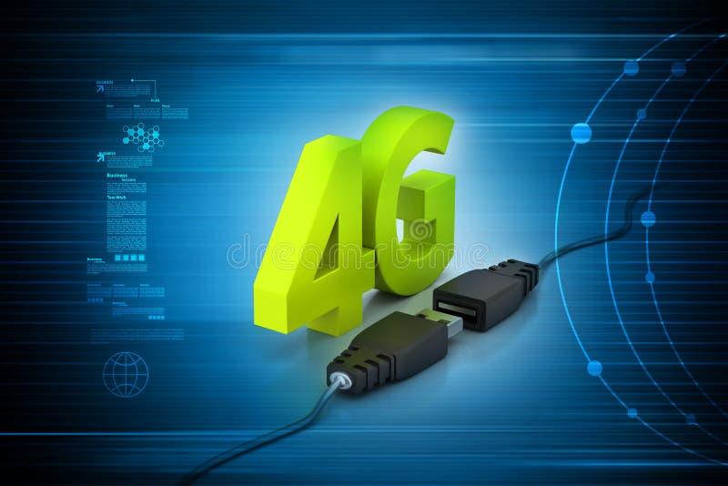 Verbindende kabel met 4g stock illustratie