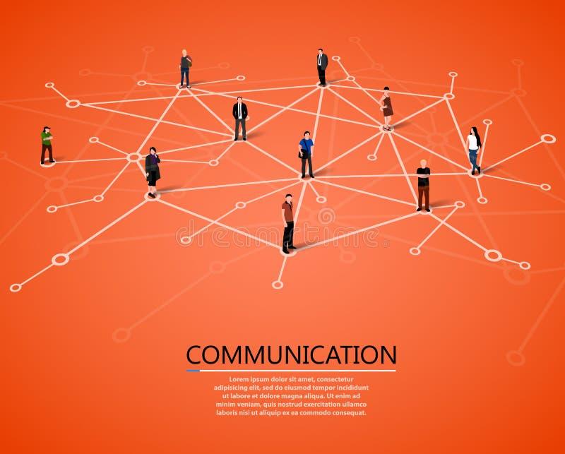 Verbindende mensen Sociaal netwerkconcept stock illustratie