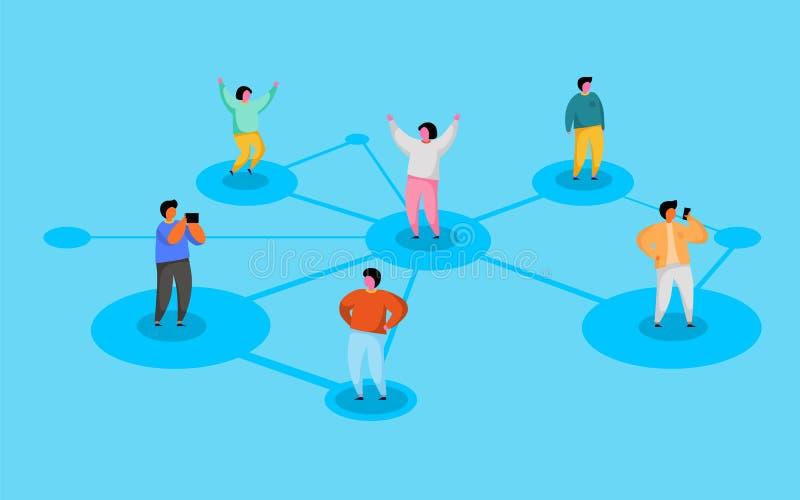 Verbindende mensen Sociaal netwerkconcept Verwijs een vriendenprogramma stock illustratie