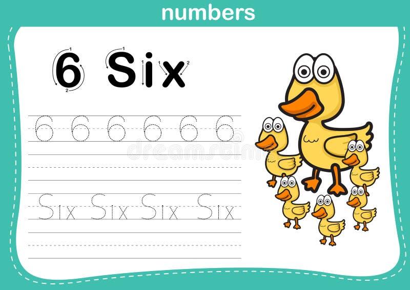 Verbindende punt en voor het drukken geschikte aantallenoefening stock illustratie