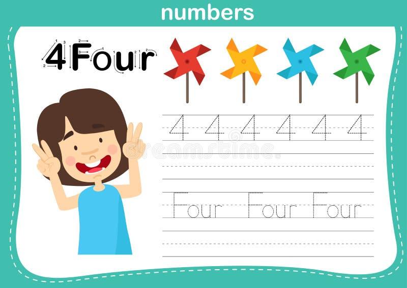 Verbindende punt en voor het drukken geschikte aantallenoefening voor kleuterschool en kleuterschooljonge geitjes vector illustratie