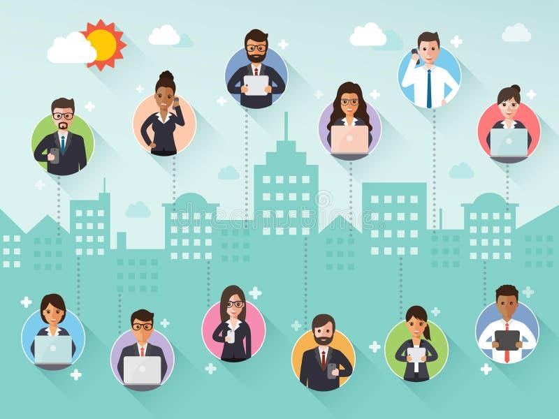 Verbindende zakenman en onderneemster via sociaal netwerk vector illustratie