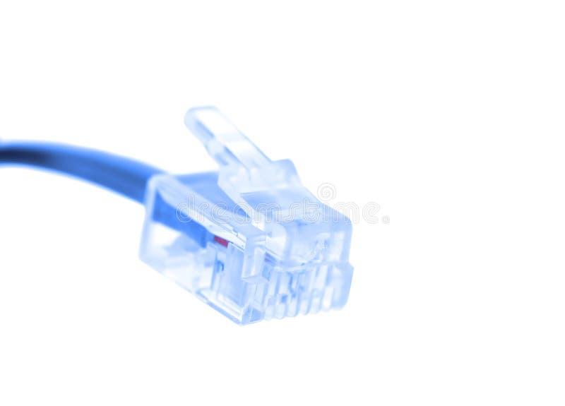 Verbinder des Seilzuges Rj-45 getrennt worden auf Weiß stockbild