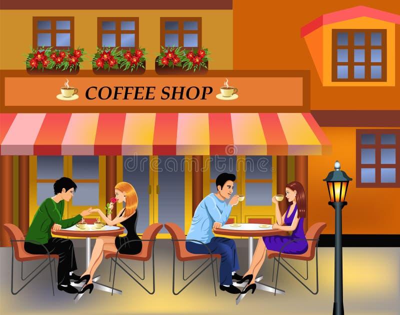 Verbindet trinkenden Kaffee in der Stadt stock abbildung