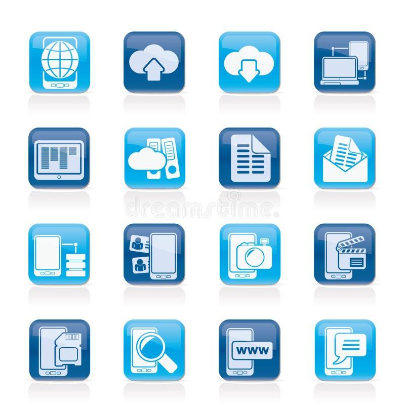 Verbinding, mededeling en mobiele telefoonpictogrammen stock illustratie