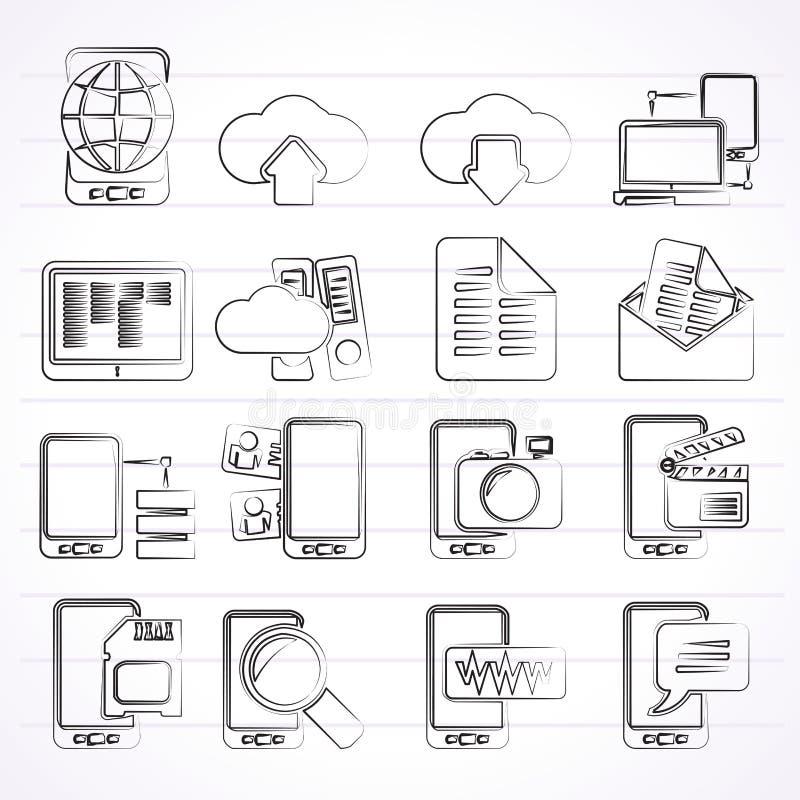 Verbinding, mededeling en mobiele telefoonpictogrammen royalty-vrije illustratie