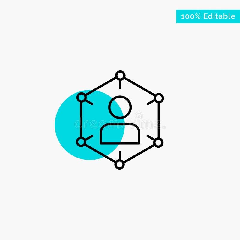 Verbinding, Mededeling, Netwerk, Mensen, Persoonlijk, Sociaal, van het de cirkelpunt van het Gebruikers het turkooise hoogtepunt  royalty-vrije illustratie