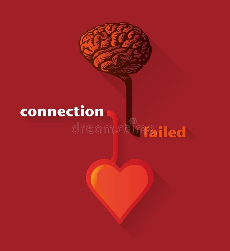 Verbinding tussen ontbroken hart en hersenen vector illustratie