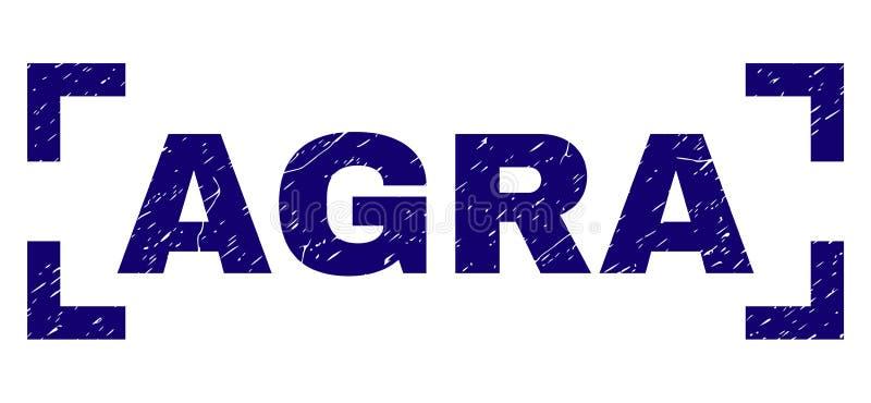 Verbinding van de Grunge de Geweven AGRA Zegel tussen Hoeken vector illustratie