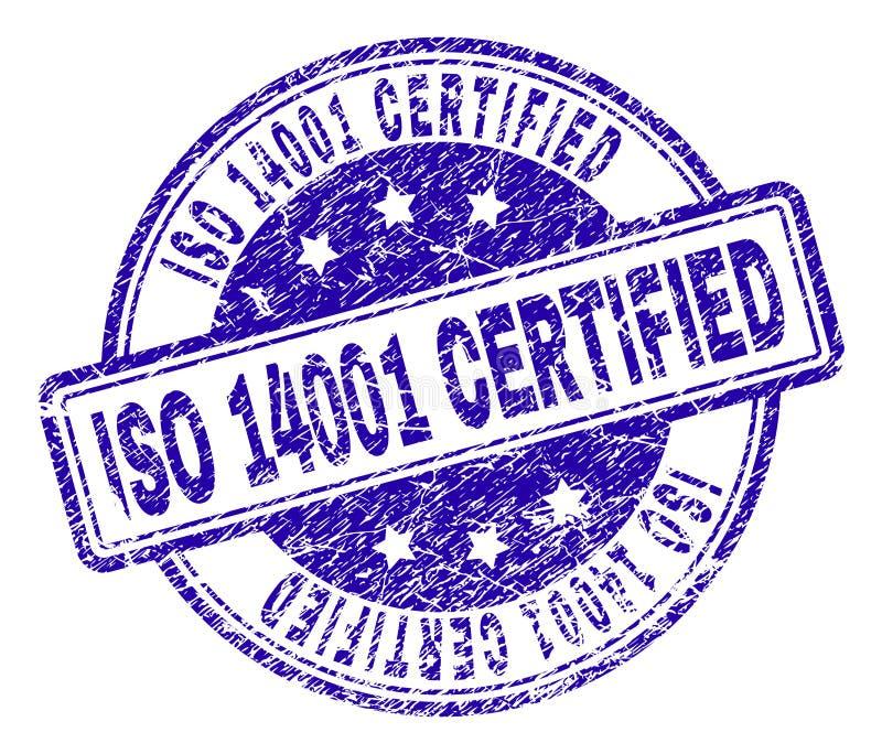 Verbinding van de Grunge de Geweven ISO 14001 VERKLAARDE Zegel royalty-vrije illustratie