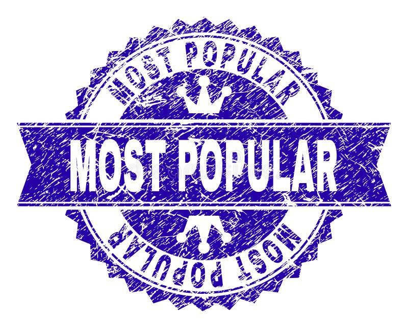 Verbinding van de Grunge de Geweven POPULAIRSTE Zegel met Lint royalty-vrije illustratie